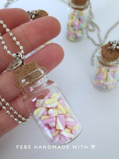 Collana con ciondolo bottiglia Marshmallow
