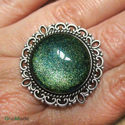 ANELLO DECO 3 - con cabochon glitter verde e oro + misura regolabile