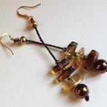 Ambra ematite e seta, orecchini preziosi, pendenti minimal, orecchini pietre dure, pendenti moderni