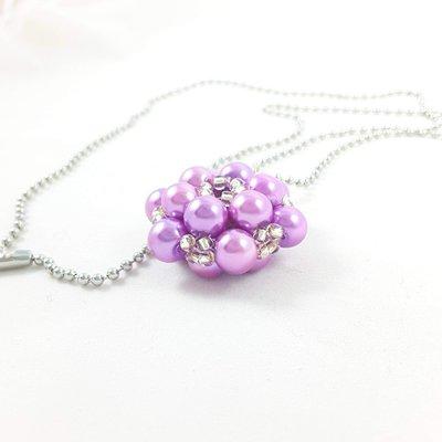 Ciondolo fiore con perle lilla e perline argento, collana, arte del gioiello, fatto a mano, esclusivo, pezzo unico, idea regalo.