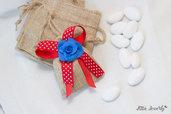 bomboniera rose blu con sacchettino, bomboniere matrimonio, bomboniere fatte a mano, bomboniere nascita, bomboniere primo compleanno, bomboniere anniversario, bomboniere matrimonio