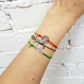 Bracciale di corda con pendente charm in argento Scarpa da calcio, fatto a mano