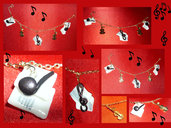 "Bracciale charms in cernit "" I love music"""