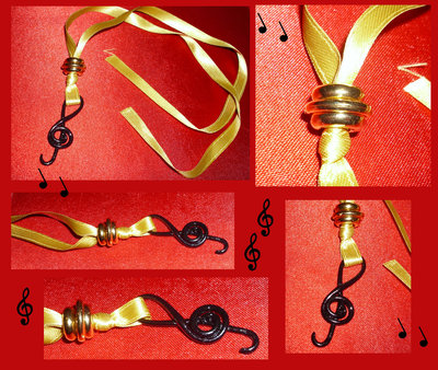 Collana cernit a forma di Chiave di Violino