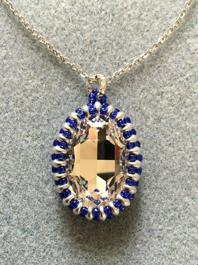 Ciondolo cabochon Swarovski Crystal ovale 30x22mm incastonato