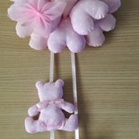 Fiocco nascita ghirlanda rosa con orsetto