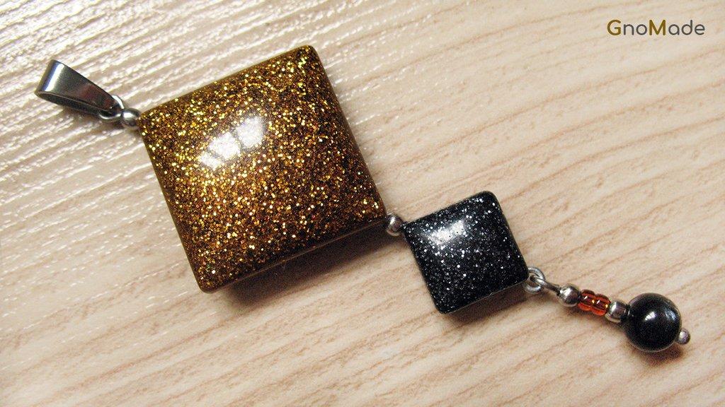 CIONDOLO 4LEVELS 4 - bronzo con glitter oro e nero + nero con glitter argento e antracite + charm - atossico e nichel free