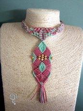 Collana pendente in macrame due tonalità