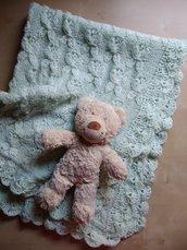Copertina neonato ai ferri lana merino verde acqua, regalo nascita,  copertina per battesimo culla carrozzina,