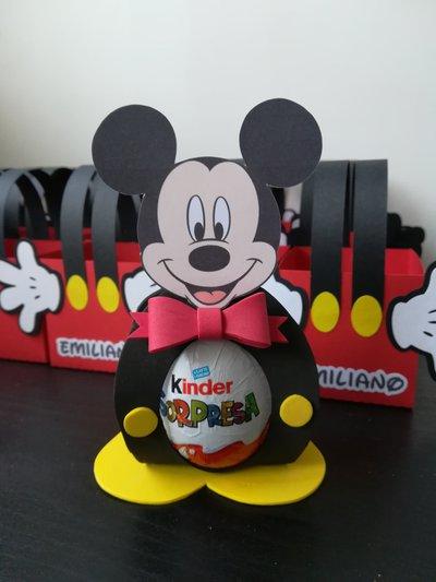 Segnaposto Porta ovetto Kinder uovo cioccolato comunione cresima Mickey topolino glitter gomma Eva crepla favour regalo caramella