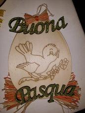 """Decorazione """"Buona Pasqua""""in legno"""