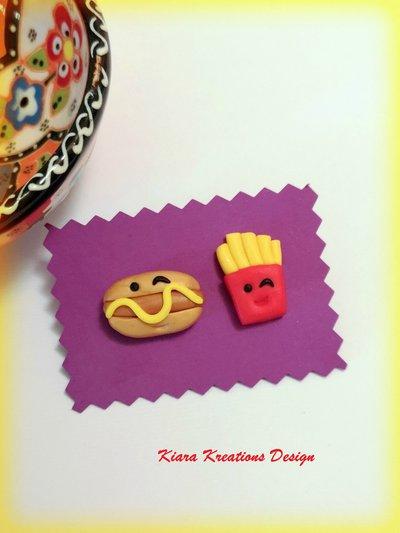 Orecchini hot dog e patatine in fimo, miniatura cibo, orecchini da lobo, gioielli bambina, gioielli hot dog per migliore amica