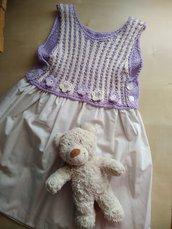 abito uncinetto cotone bambina elegante cerimonia con fiori vestito prendisole lilla