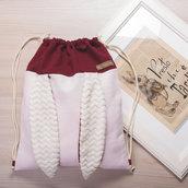 Zaino sacca coniglietto color rosa e bordeaux