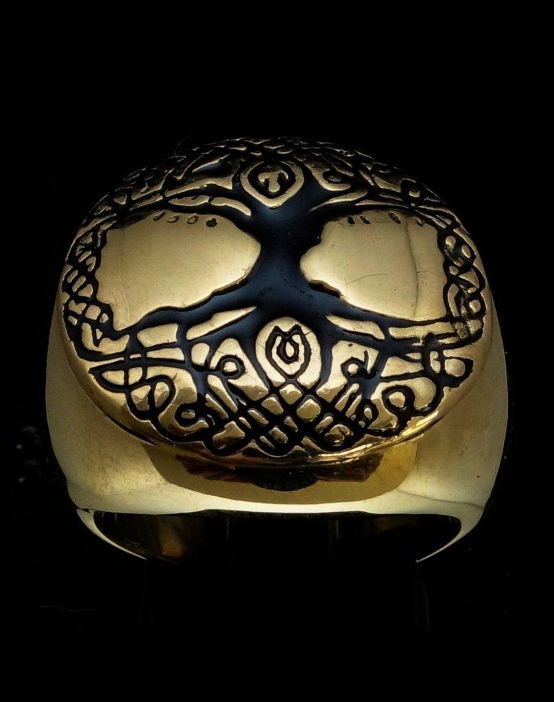 Anello rotondo Yggdrasil in bronzo