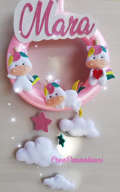 Ghirlanda nascita, decorazione cameretta 3 piccoli unicorni kawaii