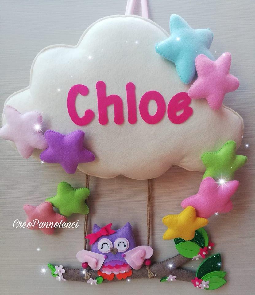 Fiocco nascita nuvoletta con gufetta super colorata