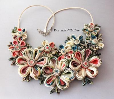Collana kanzashi con fiori 2.4
