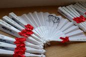 24 Pezzi Ventagli Bianchi Personalizzati Matrimonio fiocco Caricatura sposi con stampa su tessuto