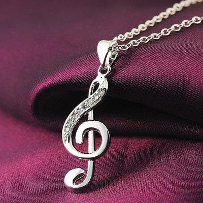 Collana donna in argento 925 con ciondolo chiave di violino di sol e zirconi chakra cristalloterapia