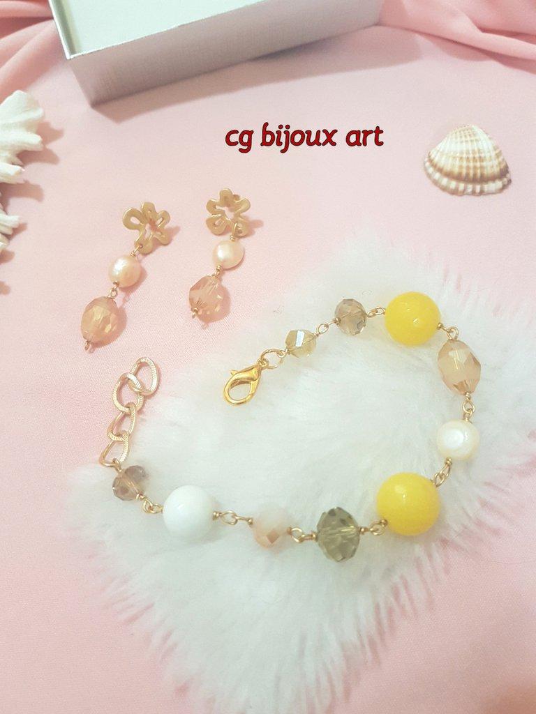bracciale di agata gialla ed orecchini in zama con mezzi cristalli champagne