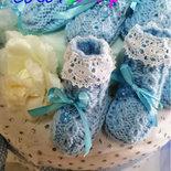 Bomboniera calza di lana baby con ciuccio