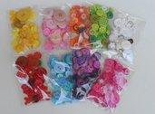 Offerta 450 Bottoni Fantasia e Forme miste in 9 Colori: Viola/Lilla, Arancione, Bianchi, Rosa,Verde, Fucsia,Rosso, Azzurro e Giallo