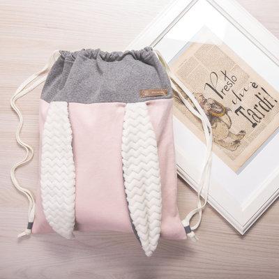 Zaino sacca coniglietto color rosa e grigio