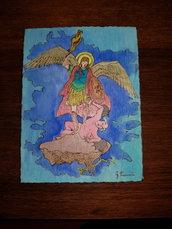 Quadro Pirografato e dipinto. San Michele Arcangelo