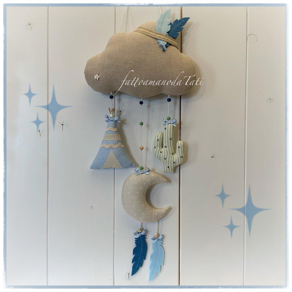 Fiocco nascita nuvoletta indiani sui toni azzurro e beige