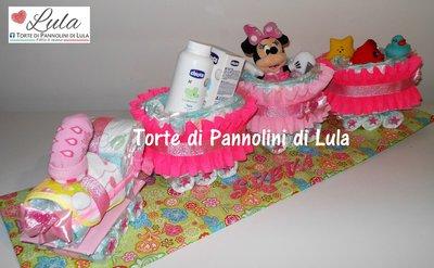 Torta di pannolini Pampers Treno trenino Minnie - Idea regalo nascita battesimo baby shower