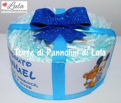 TORTA di PANNOLINI Pampers + BAVAGLINO PERSONALIZZATO + NOME DEDICA PERSONALIZZABILE pacco regalo fiocco idea regalo nascita battesimo