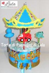 Torta di Pannolini GIOSTRA carosello carillon Pampers Baby Dry nascita battesimo