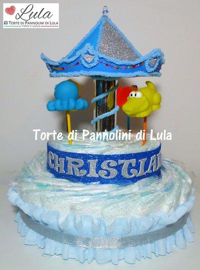 Torta di Pannolini Pampers Giostra carillon Carosello - idea regalo, originale ed utile, per nascite, battesimi e compleanni
