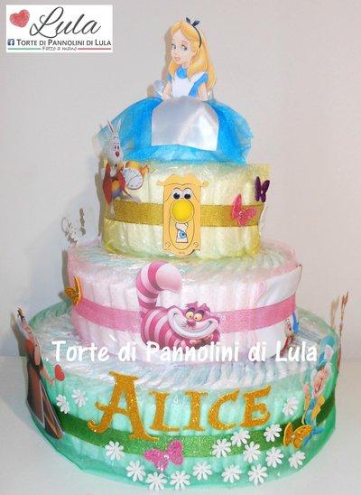 Torta di Pannolini Pampers Alice nel paese meraviglie regalo nascita battesimo