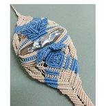 Bracciale Top Class macrame con quarzite, panna/azzurro