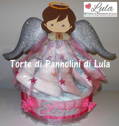 Torta di Pannolini Pampers angelo angioletto grande rosa femmina - idea regalo, originale ed utile, per nascite, battesimi e compleanni