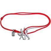 Bracciale di corda con pendente charm in argento Ballerini, fatto a mano
