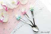 bomboniere matrimonio in fimo, bomboniere comunione, bomboniere nascita, Cucchiaino con Cupcake in pasta polimerica fimo - Polymer clay
