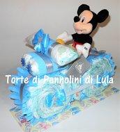 Torta di Pannolini Moto Bicicletta Topolino Pampers idea regalo nascita battesimo