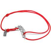 Bracciale di corda con pendente charm in argento Giocatore di Pallacanestro, fatto a mano