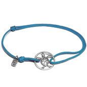 Bracciale di corda con pendente charm in argento Tartaruga, fatto a mano