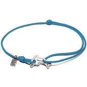 Bracciale di corda con pendente charm in argento Delfino, fatto a mano