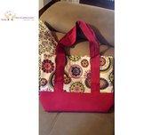 Borsa a spalla shopper bag in tessuto fatta a mano - Molto capiente con tasca esterna ed interna - Colore fuscia e fantasia
