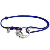 Bracciale di corda con pendente charm in argento Luna, fatto a mano