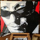 Quadro pop art Vasco Rossi***Acrilico su tela di cotone***dimensioni 50x60***dipinto a mano