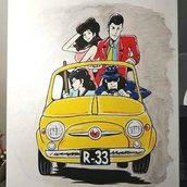 Quadro pop art Lupin***Acrilico su tela di cotone***Dimensioni 50x70***Dipinto a mano