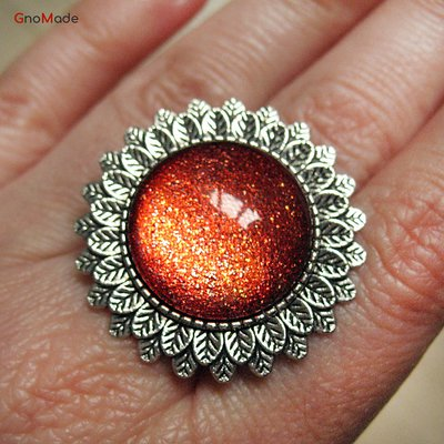 ANELLO FOGLIE 5 - con cabochon color ruggine rame