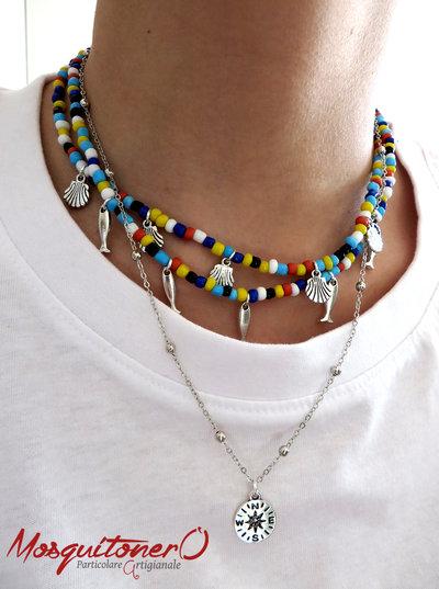 Collana donna con charm ciondolo conchiglia e pesci in perline in vetro colorate, stile mare, estate