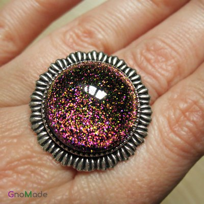 ANELLO RAYS 1 - con cabochon con glitter multicolore ore verde rosa su base nera